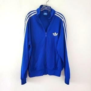 Adidas Old School Trefoil Blue Logo Jacket L